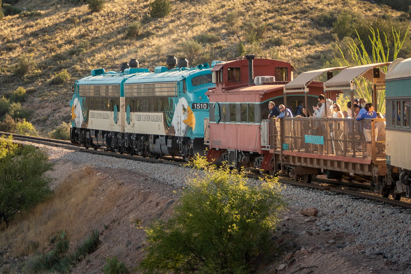 The Verde Canyon train heading for the station