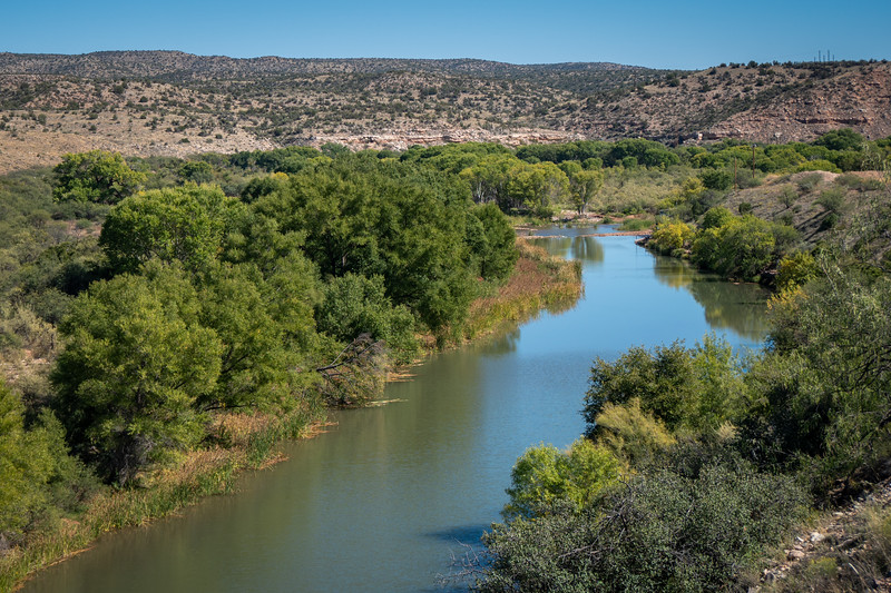 The Verde River flows along the railway