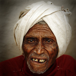 """India: """"Simply Old"""": This old man was sitting at the corner outside his house and watching everyone passing by. Took permission to take his picture. Image taken in a village near Nagpur, Maharashtra. Jan 2007."""
