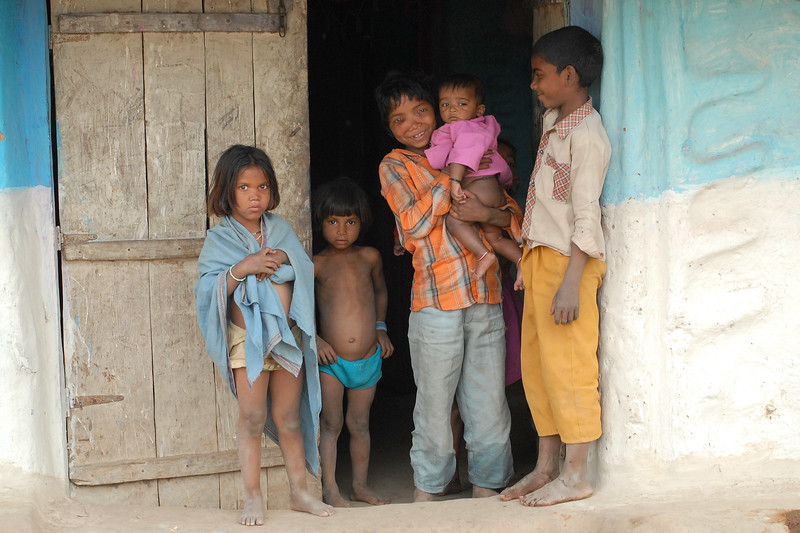 Children at the entrance of the door. (MH, Maharashtra, India)