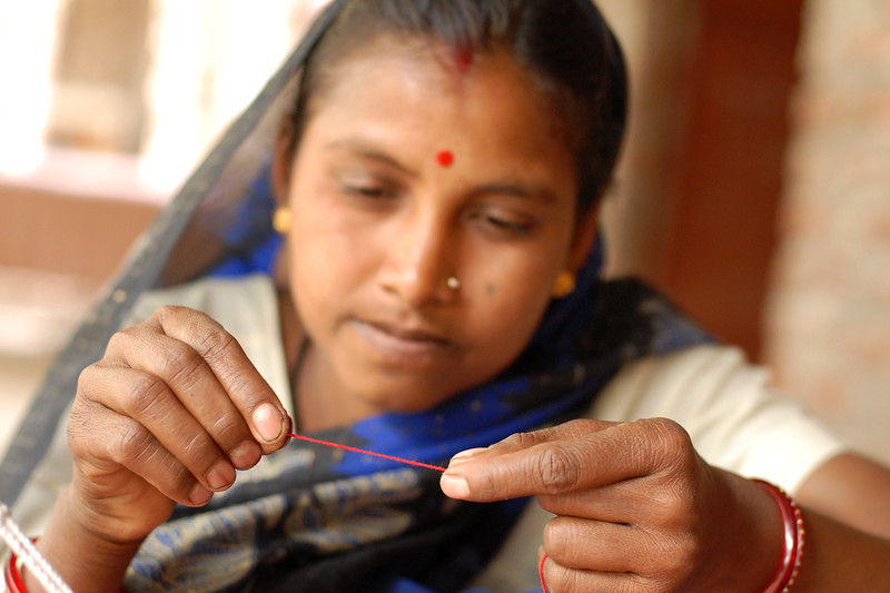 Thread made by rural women from the locally grown cotton.