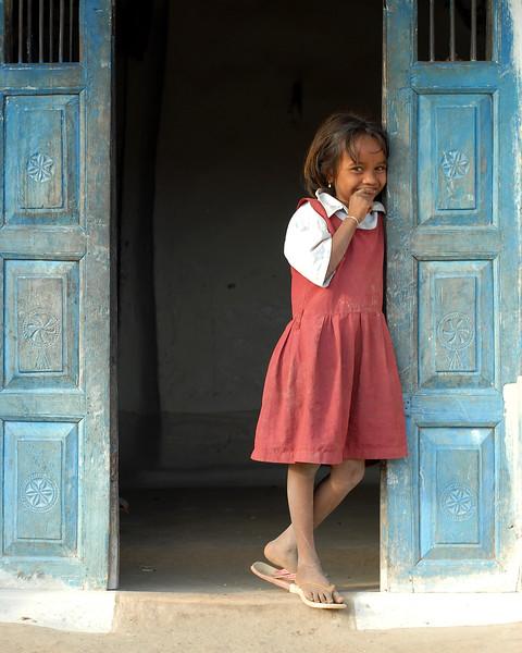 Shy girl in rural India.