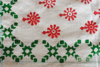 Blocked printed cloth. Locally village women the around the area grown cotton, nuture the plants. use the cotton to spin the cloth, dye it and then produce this cloth and do block printing on it.