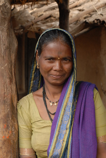 Lady at the border village of MH & MP, India.