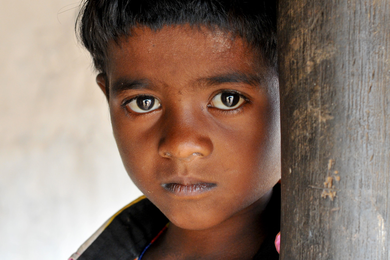 Child in the village.<br /> Villages in rural India in the state of Maharashtra.