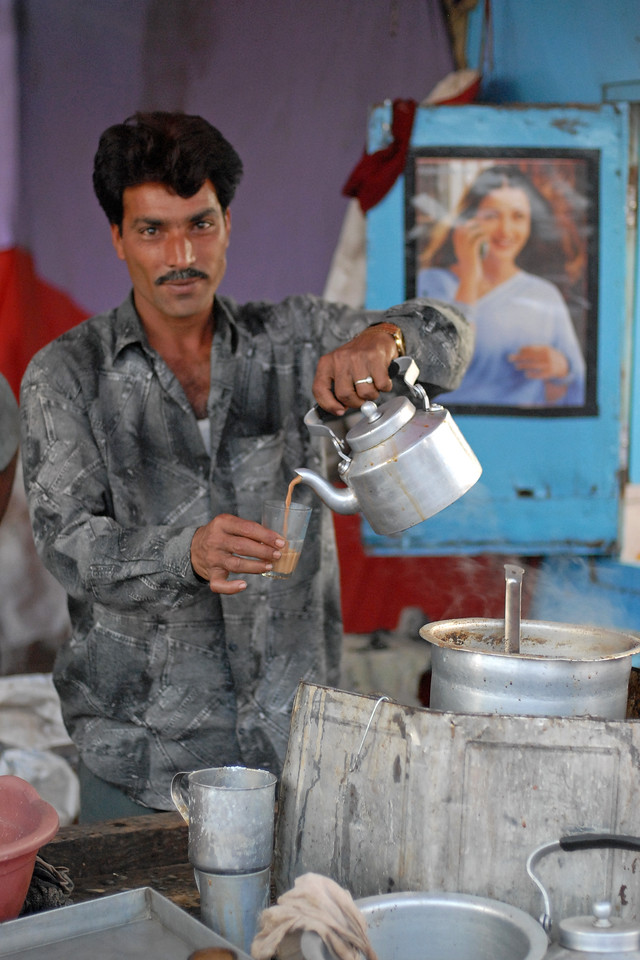 Hot chai (tea) at a local stall at the village haat (market) in MH (Maharashtra), India.