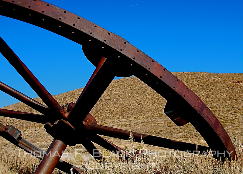Huge spoke wheel left behind in Bodie, CA, a once-prosperous silver-mining town abandoned in 1938. [UFP 101109]