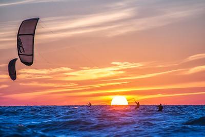 Kiteboarders Sunset Trio