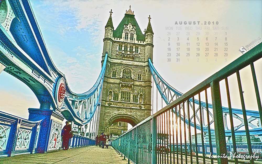 """<h3>Title:</h3>  <span style=""""color:#F08080"""">London Tower Bridge </span>  <span style=""""color:#CDB7B5""""><h3>Desktop Wallpaper Calendar: August 2010</h3></span>  <span style=""""color:#CDC8B1""""><em><em>""""This photograph was taken in the beginning of 2010, when I was enjoying my winter holiday in London. I believe all of you knew that the winter temperature dropped a lot this year — freezing and raining all day long! I was lucky enough to sense a short few hours of sunny day in the winter."""" </em></span>   You are allowed to download this photograph either with <span style=""""color:#6B8E23"""">or</span> without calendar.    Dimensions include: 1024×640, 1280×800, 1440×900, 1680×1050, 1920×1200 and 2560×1600   <span style=""""color:#F6C9CC""""><em>Downloads: </em></span>  <span style=""""color:#EEE685"""">With Calendar:</span>  <a href=""""http://dl.dropbox.com/u/10433669/SM_Aug2010_1_With%20Calendar_Wallpapers/August-10-London-Tower-Bridge-calendar-1024%C3%97640.jpg"""">1024×640</a>, <a href=""""http://dl.dropbox.com/u/10433669/SM_Aug2010_1_With%20Calendar_Wallpapers/August-10-London-Tower-Bridge-calendar-1280%C3%97800.jpg"""">1280×800</a>, <a href=""""http://dl.dropbox.com/u/10433669/SM_Aug2010_1_With%20Calendar_Wallpapers/August-10-London-Tower-Bridge-calendar-1440%C3%97900.jpg"""">1440×900</a>, <a href=""""http://dl.dropbox.com/u/10433669/SM_Aug2010_1_With%20Calendar_Wallpapers/August-10-London-Tower-Bridge-calendar-1680%C3%971050.jpg"""">1680×1050</a>, <a href=""""http://dl.dropbox.com/u/10433669/SM_Aug2010_1_With%20Calendar_Wallpapers/August-10-London-Tower-Bridge-calendar-1920%C3%971200.jpg"""">1920×1200</a> and <a href=""""http://dl.dropbox.com/u/10433669/SM_Aug2010_1_With%20Calendar_Wallpapers/August-10-London-Tower-Bridge-calendar-2560%C3%971600.jpg"""">2560×1600</a>.   Otherwise,  Click <a href=""""http://www.smashingmagazine.com/2010/07/31/desktop-wallpaper-calendar-august-2010/m"""">here</a> to proceed to the download page of this photograph (either with <span style=""""color:#6B8E23"""">or</span> without calendar).   Thank you"""