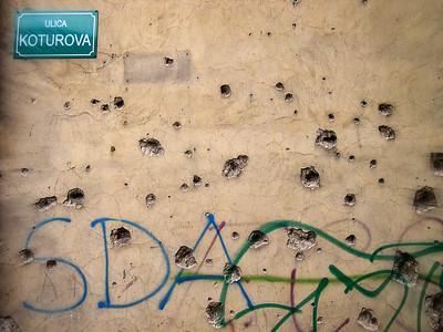 Signs of the war, Sarajevo, Bosnia-Herzegovina