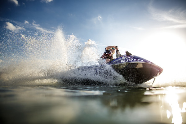 Jet ski turning in front of camera.