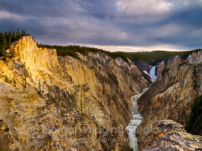 Sunset At Lower Falls, Yellowstone