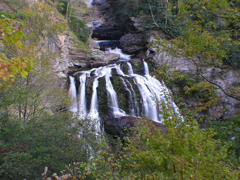 Upper Cullasaja Falls , early in foliage season