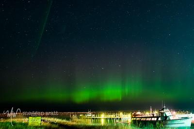 Aurora Borealis and Mishe Mokwa, Leland Michigan