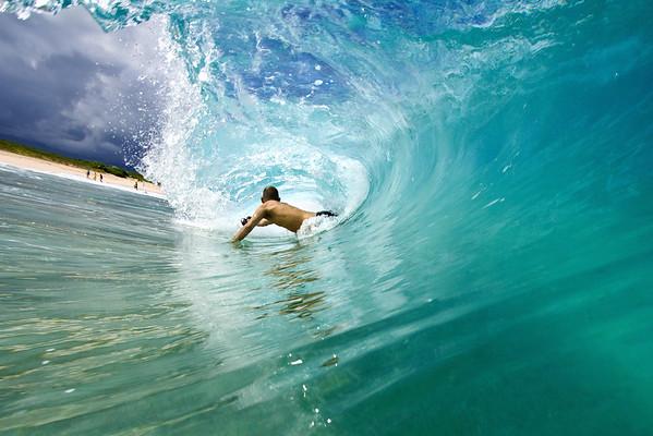 Warren bodysurfing with a GoPro at this pristine sandbar.