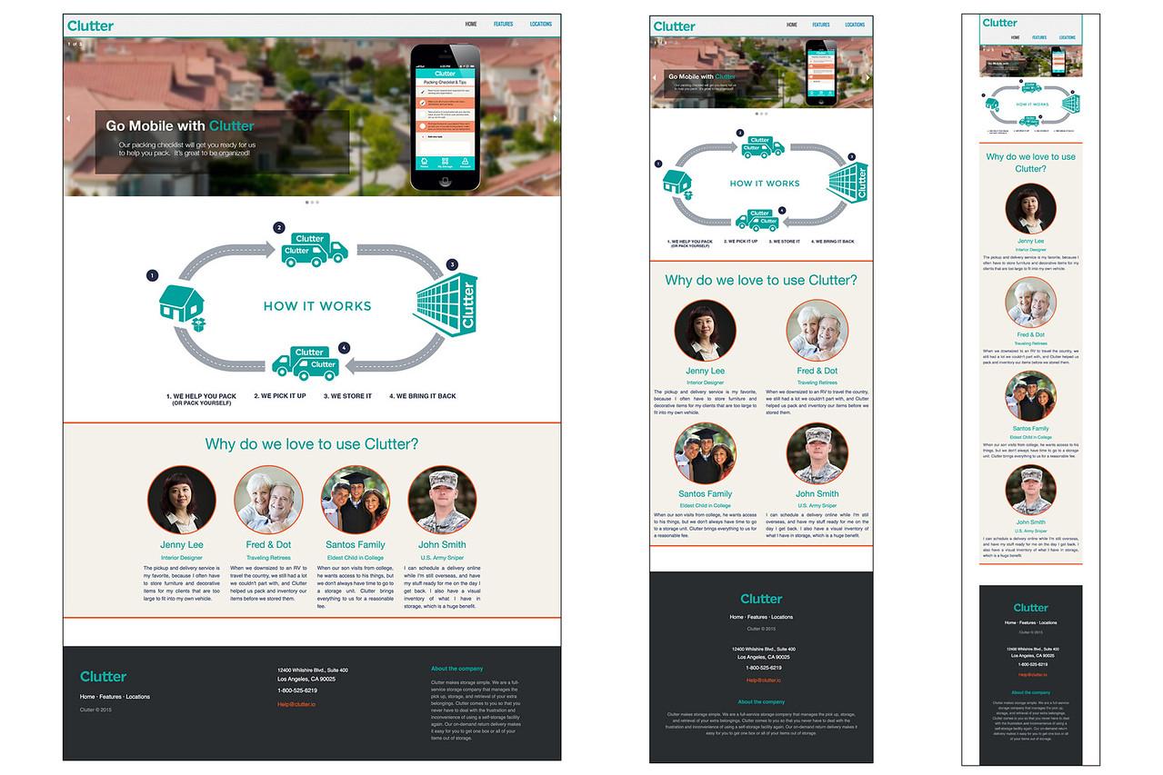 Clutter home page - designed for desktop, tablet, and cell phone platforms.