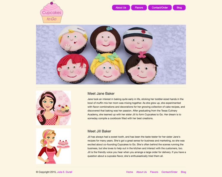 Cupcakes to Go: About Us Page