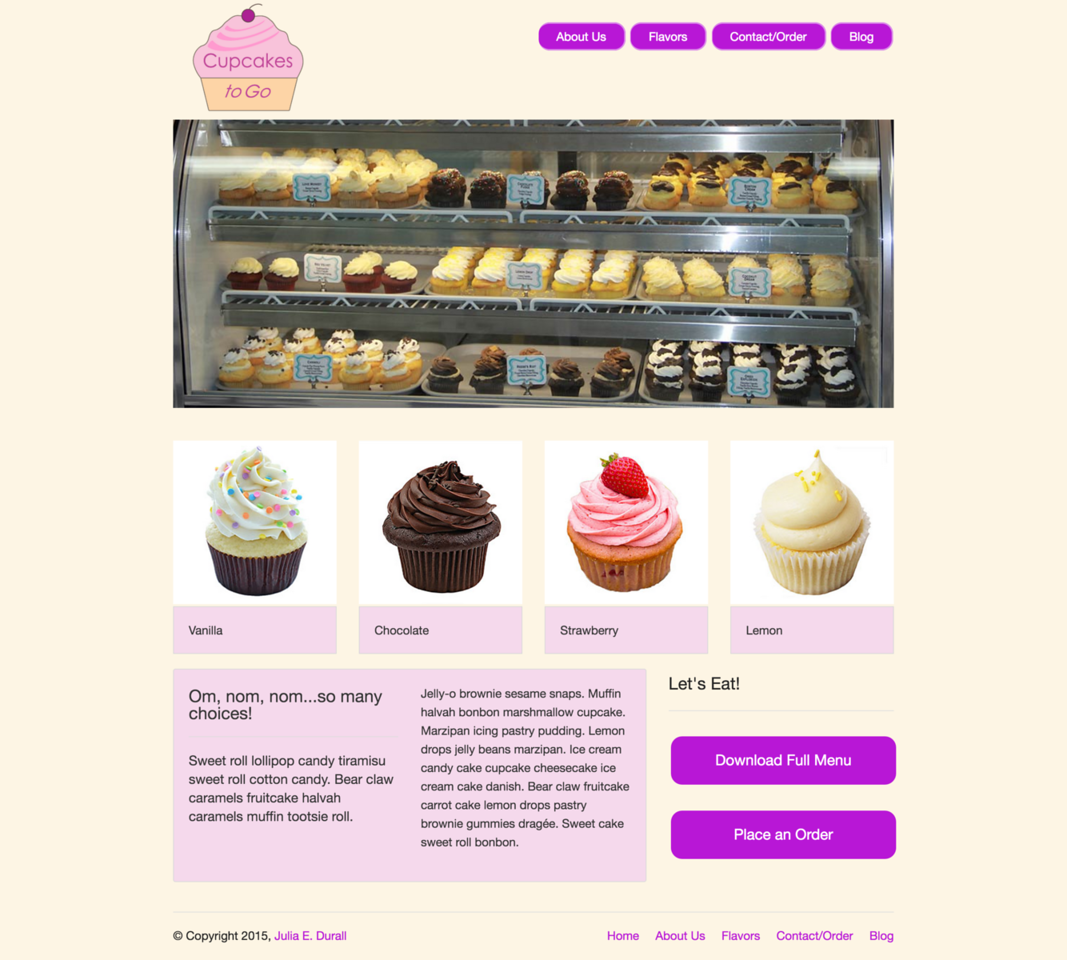 Cupcakes to Go: Flavors Page