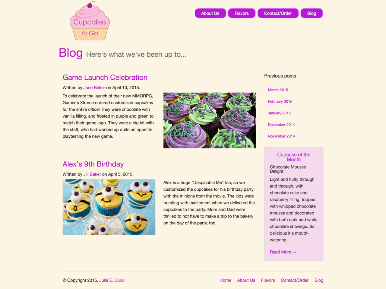 Cupcakes to Go: Blog Page