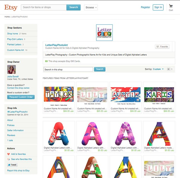 Snapshot of finished Etsy shop home page