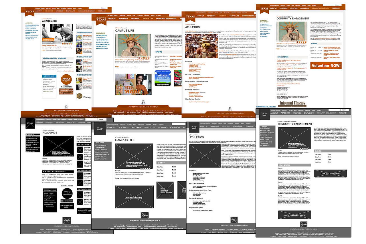 Original Web Pages and Wireframes