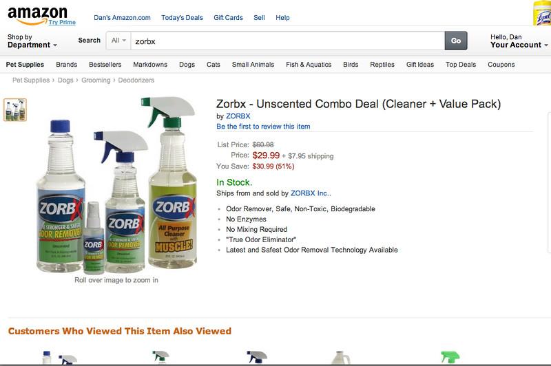 ZorbX on Amazon