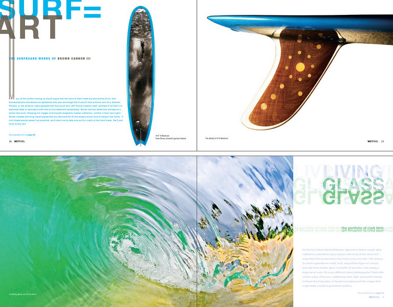 Wetpixel Quarterly Magazine ::<br /> Role: Creative Director & Designer<br /> <br /> Sample spreads from Wetpixel Quarterly.
