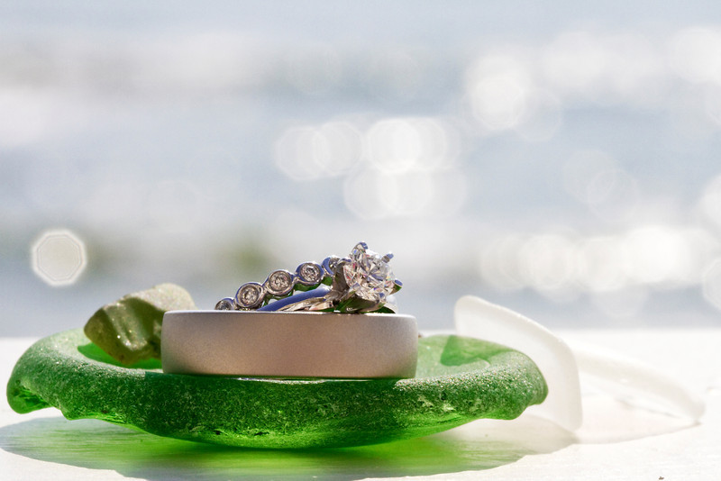 Our rings with some of the sea glass we found on the beach.