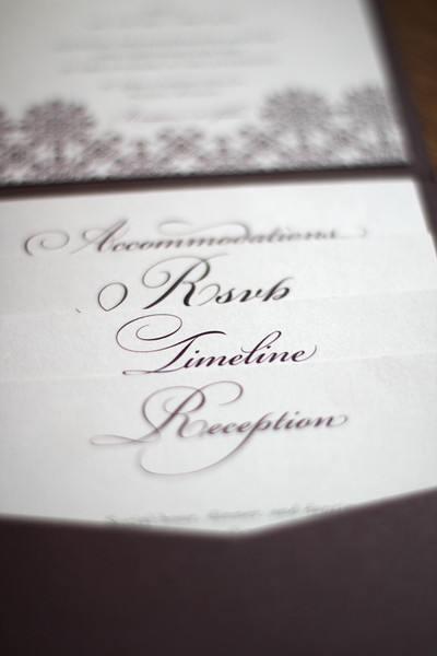 Metallic Plum pocket fold wedding invitation <br /> <br /> This pocket fold housed the invitation, custom map with illustrations, timeline of events, RSVP postcard, and reception card. The ornate design of the invitation is carried throughout the suite. Printed on complemennting metallic pearl card stock.