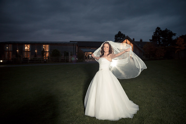 Bride outside Mythe Barn