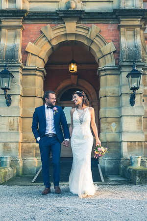 Happy couple emerge from Rossington Hall,