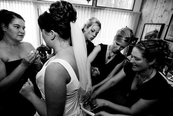 Cori and the girls adding finishing touches