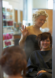 Brides maid Vicky at the hair dressers