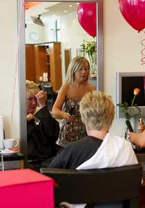 The Bride doing her Mothers hair