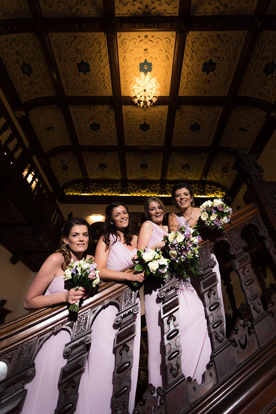 Bridesmaids on the staircase at Beaumanor hall