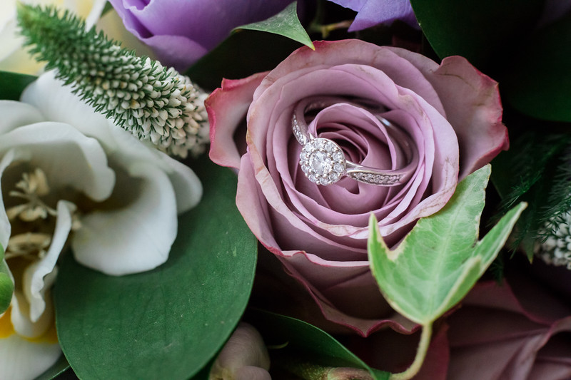 Wedding ring in the flowers
