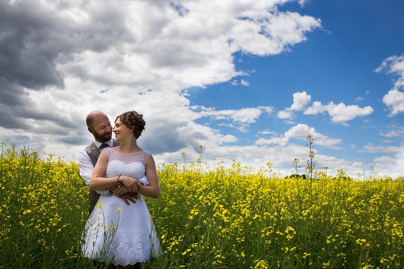 wedding photo in canola field