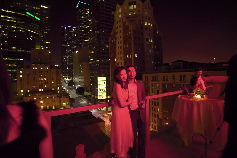 Engagement party, Hilton Checkers rooftop, downtown LA