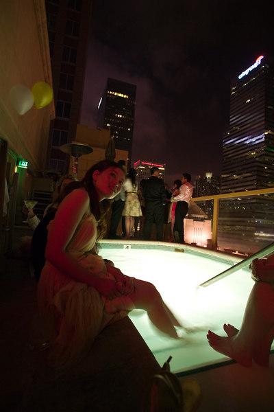 Engagement party, Hilton Checkers rooftop, downtown LA