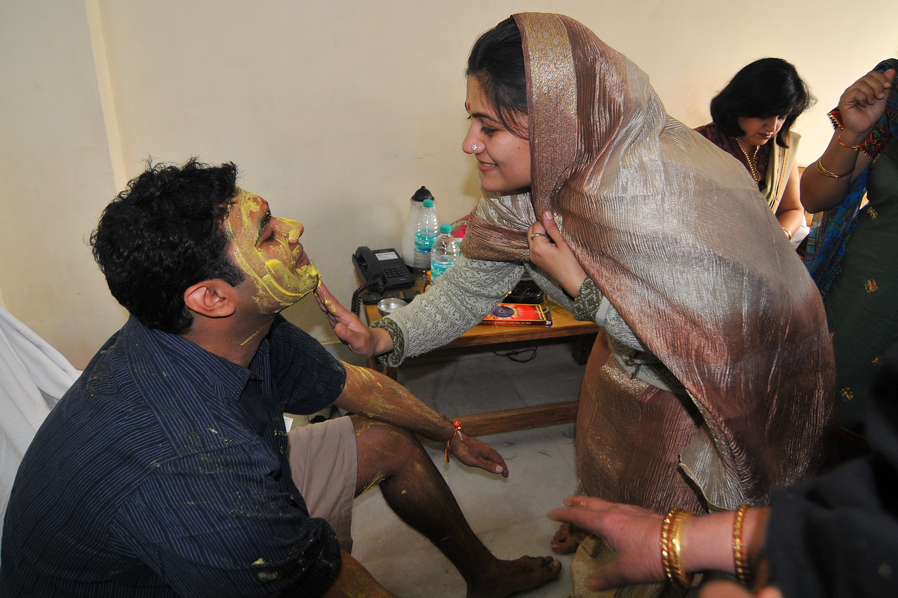 Haldi being applied by family members on Piyush at Hotel Magadh. Nimisha wed Piyush Seth in Patna on 1st Feb, 2008.