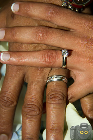 Wedding Photo of the Wedding rings on the Bride and Groom.