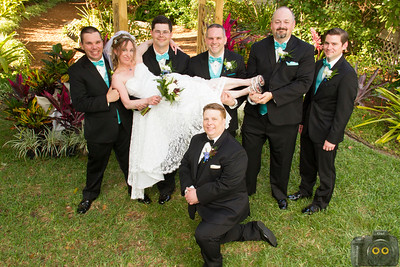 Wedding Photo of the Bride, Groom and Groomsmen.