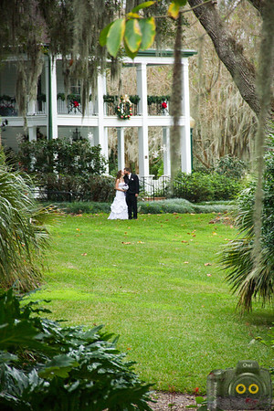 Wedding Photo of the Bride and Groom kissing.