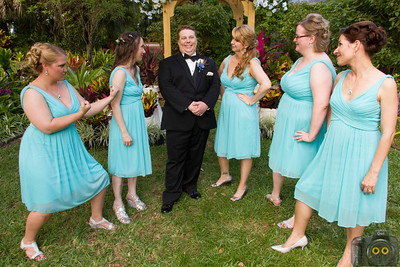 Wedding Photo of the Bride, Groom and Bridesmaids.