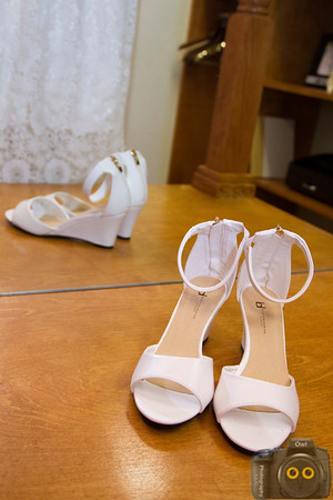 Wedding Photo of the Bride's dress and shoes.