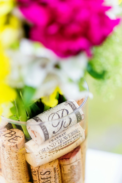 Brengman Brothers Vineyard Table Setting Flowers with Wine Corks | Rayan Anastor Photography | Traverse City Wedding Photographer