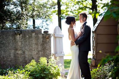 Bride and Groom in Garden at Vineyard | Rayan Anastor Photography | Northern Michigan Destination Wedding Photographer
