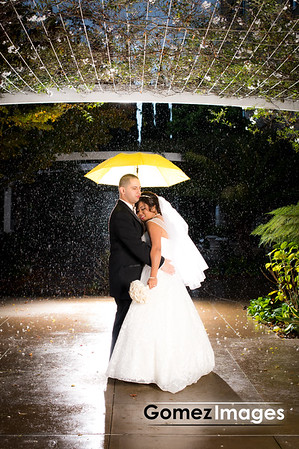 wedding under the rain at Biltmore Hotel in Santa clara
