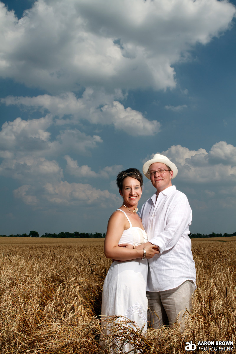 Lauren Fink & Justin Wolf Wedding Portrait Random Field - Beecher, Illinois