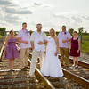 Emily Waggoner & Joe Koranek<br /> Wedding Day - Portrait<br /> Train Tracks - Schneider, Indiana